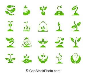 ensemble, silhouette, icônes, pousse, vecteur, blanc vert