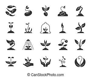 ensemble, silhouette, icônes, pousse, vecteur, noir
