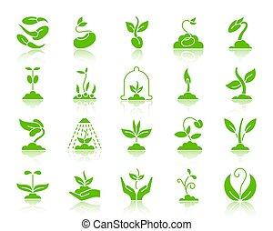ensemble, silhouette, icônes, pousse, vecteur, vert