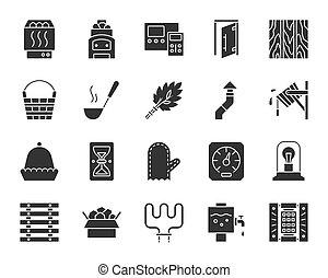 ensemble, silhouette, icônes, sauna, équipement, vecteur, noir
