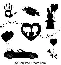 ensemble, silhouette, icônes, valentines, isolé, arrière-plan., noir, blanc, jour, heureux