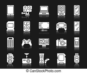 ensemble, silhouette, icônes, vecteur, appareil, blanc