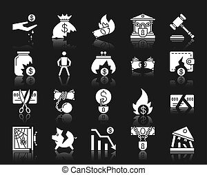 ensemble, silhouette, icônes, vecteur, blanc, faillite