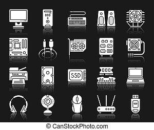 ensemble, silhouette, icônes, vecteur, blanc, informatique