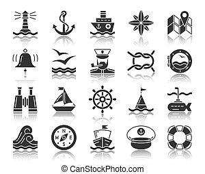 ensemble, silhouette, icônes, vecteur, noir, marin