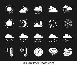 ensemble, silhouette, icônes, vecteur, temps, blanc