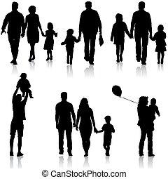 ensemble, silhouette, illustration., famille, arrière-plan., vecteur, blanc, heureux