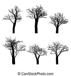 ensemble, silhouette, isolated., set., arbres, main, noir, dessiné