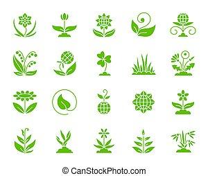 ensemble, silhouette, jardin, icônes, couleur, vecteur