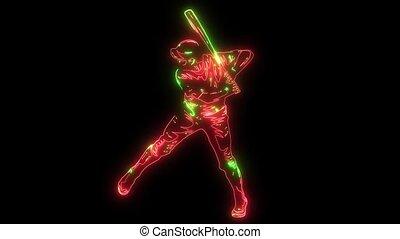 ensemble, silhouette, joueur, animation, vidéo, base-ball
