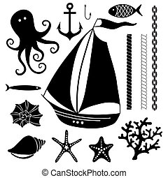 ensemble, silhouette, -, main, symboles, mer, dessiné
