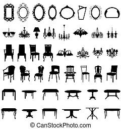 ensemble, silhouette, meubles