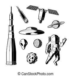 ensemble, silhouette, objets, espace, vecteur, cosmos, icône