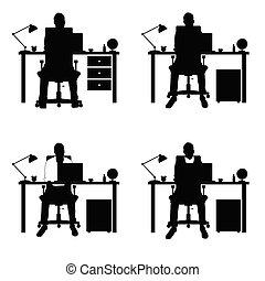 ensemble, silhouette, ordinateur portable, deux, illustration, partie, bureau, homme