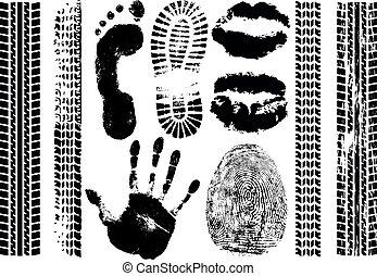 ensemble, silhouette, pneu, handprint, lèvres, isolé, imprimer, evidence., vecteur, empreinte doigt, empreinte, fond, impression, blanc, tracks.