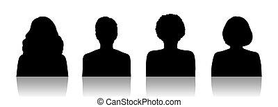 ensemble, silhouette, portraits, 1, id, femmes
