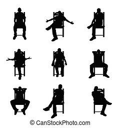 ensemble, silhouette, séance, couleur, illustration, noir, chaise, homme