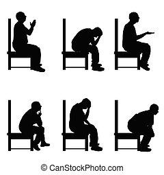 ensemble, silhouette, séance, illustration, divers, chaise, poses, homme