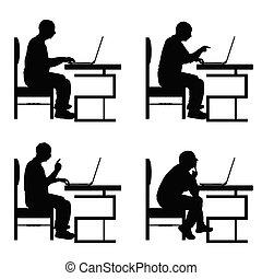 ensemble, silhouette, séance, ordinateur portable, travail, illustration, chaise, homme