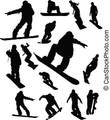ensemble, silhouette, snowboarder, homme