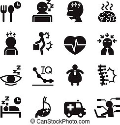 ensemble, silhouette, syndrome, icônes bureau