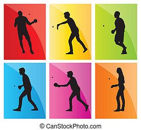 ensemble, silhouette, tennis, ping, joueur, vecteur, fond, table, pong