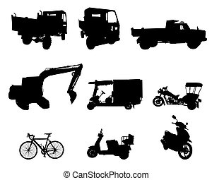 ensemble, silhouette, véhicule