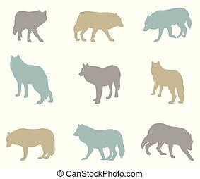 ensemble, silhouettes, grand, wolves., vecteur