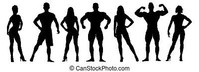 ensemble, silhouettes., hommes, musculaire, vecteur, poser, culturistes, femmes