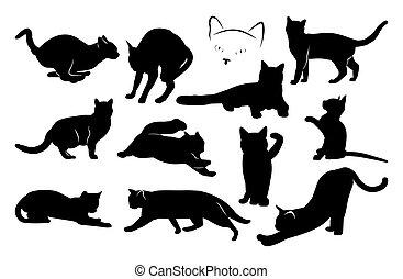 ensemble, silhouettes., image, chat, vecteur, noir