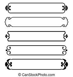 ensemble, simple, cadre, noir, bannières, frontière
