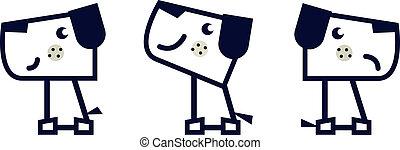 ensemble, simple, chien, isolé, géométrique, blanc
