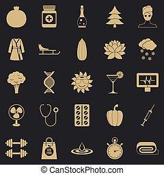 ensemble, simple, gymnase, style, icônes