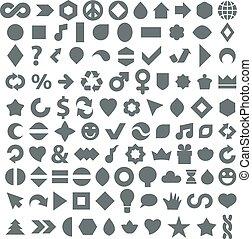 ensemble, simple, mieux, design., toile, différent, icônes, autre, géométrique, plat, éléments, business, grayscale, usage, collection, environnement, fait, themes., graphique, économie, social, musique
