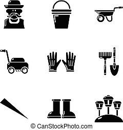 ensemble, simple, pelouse, style, icônes