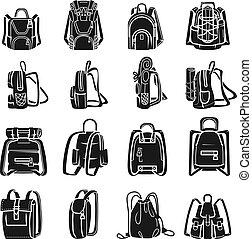 ensemble, simple, sac à dos, style, icônes