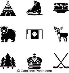 ensemble, simple, style, étendue, icônes
