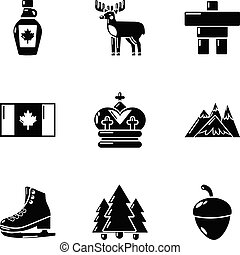 ensemble, simple, style, canuck, icônes