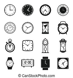 ensemble, simple, style, clocks, icônes