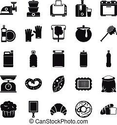 ensemble, simple, style, cuisine, icônes