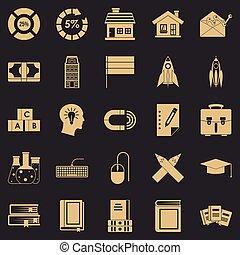 ensemble, simple, style, découvreur, icônes