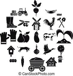ensemble, simple, style, garde-manger, icônes