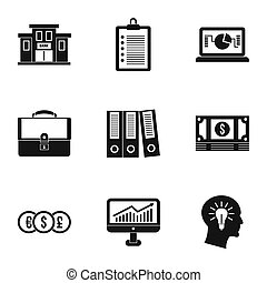 ensemble, simple, style, icones affaires