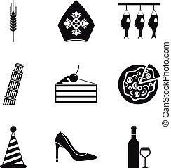 ensemble, simple, style, liquide, icônes