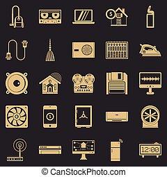 ensemble, simple, style, logiciel, icônes