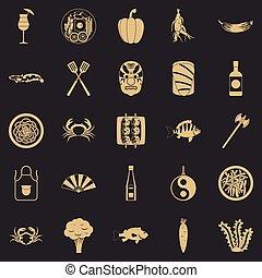 ensemble, simple, style, sushi, icônes
