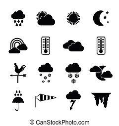 ensemble, simple, style, temps, icônes