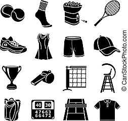 ensemble, simple, style, tennis, icônes