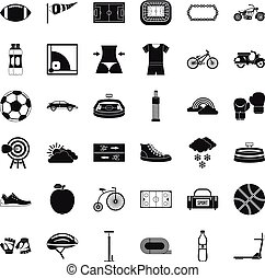 ensemble, simple, style, vélo, icônes