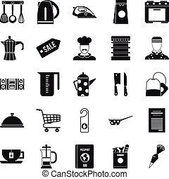 ensemble, simple, vaisselle, style, icônes